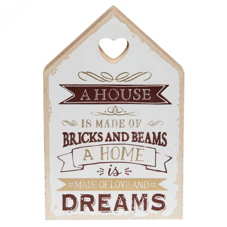 """Textschild """"Home is made of love and dreams""""  11x2x18 cm"""