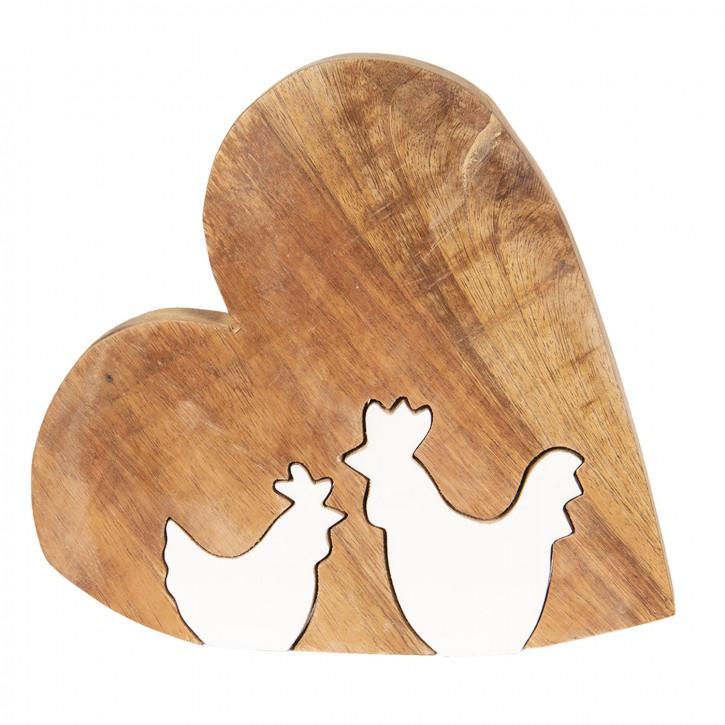 Dekoration Herz mit Huhn 16x2x15 cm