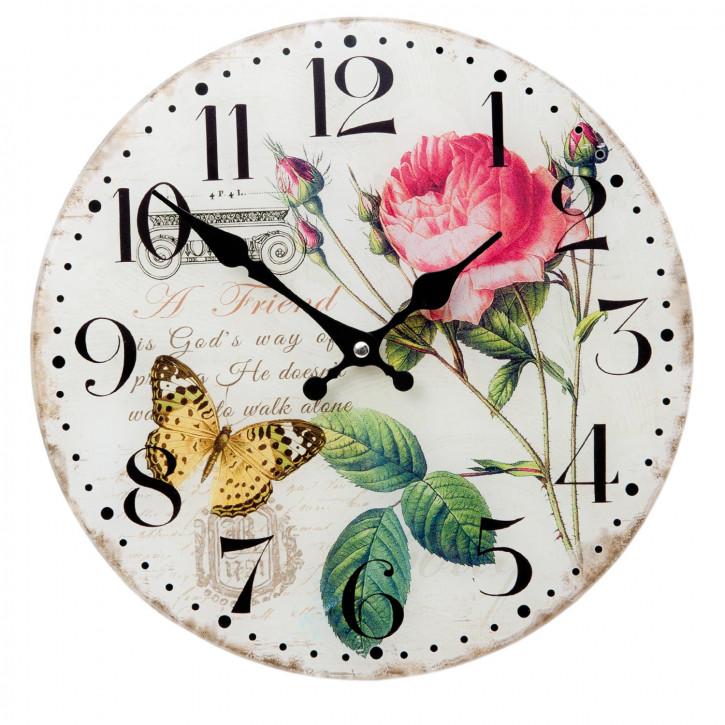 Wanduhr Rose Schmetterling ca. Ø 30 x 4 cm