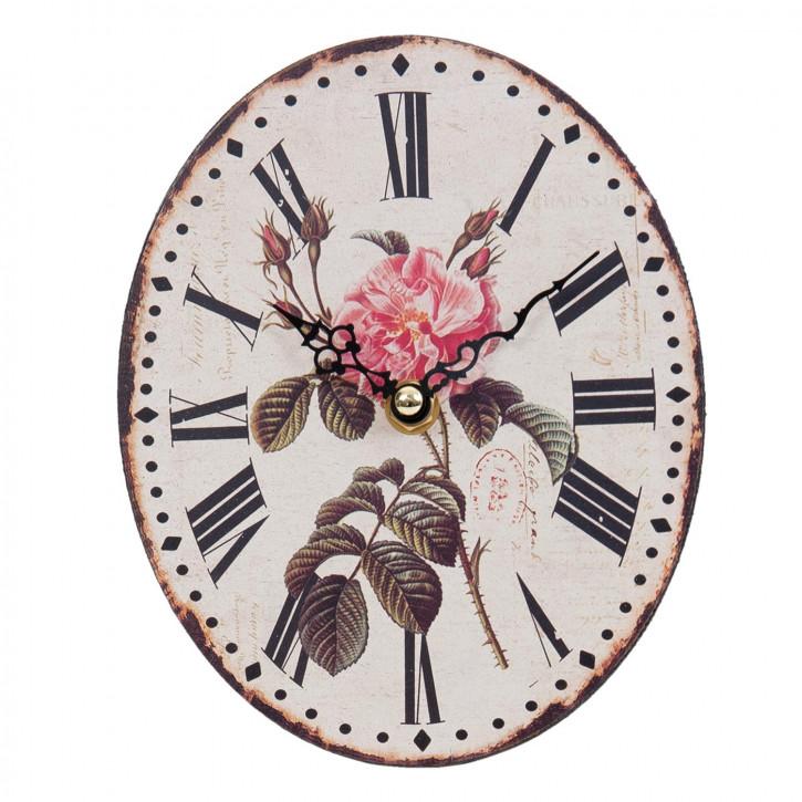 Wanduhr Oval Blume 15x5x18 cm