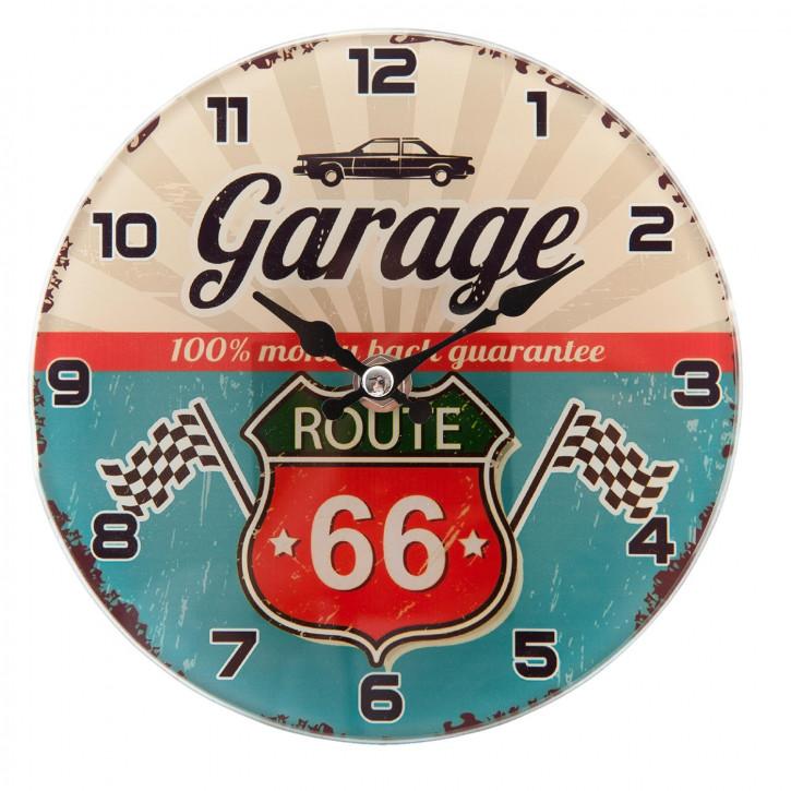 Kleine Wanduhr Garage Ø 17x4 cm / 1xAA