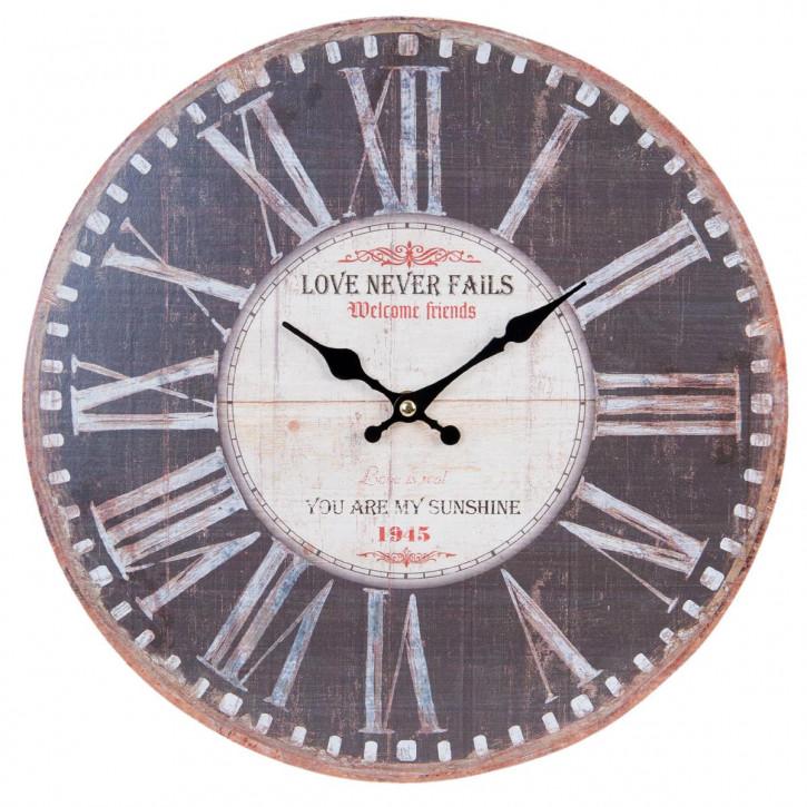 Wanduhr Love never fails Ø 34x4 cm