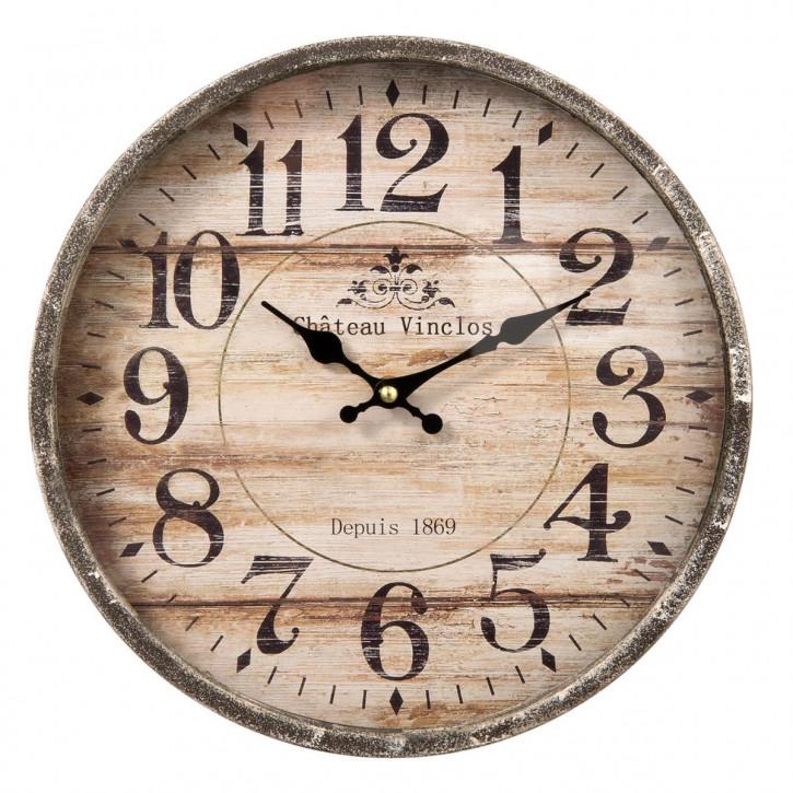 Retro Uhr Holzuhr Ø 30x6 cm