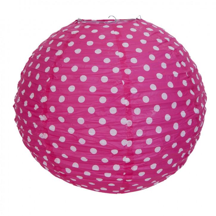 Lampenschirm pink mit Punkten 40 cm