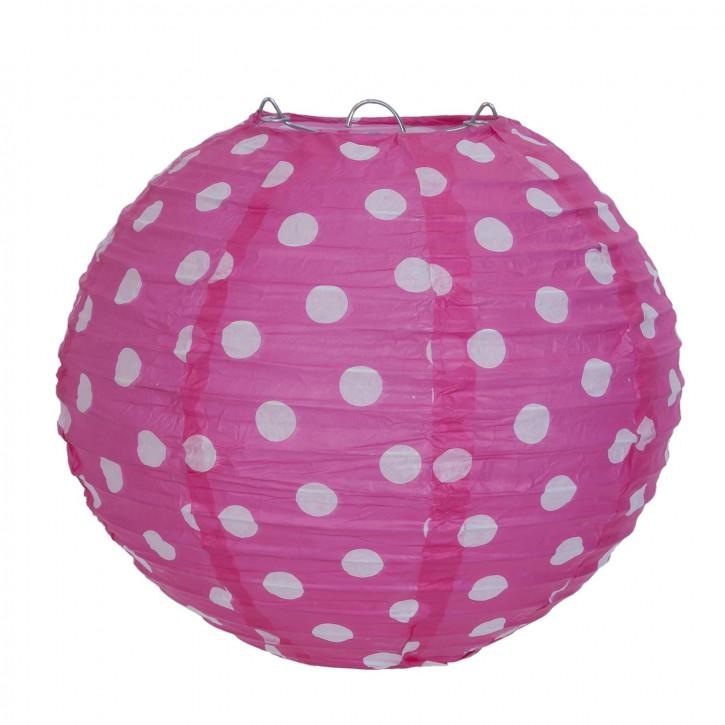 Lampenschirm pink mit Punkten 20 cm