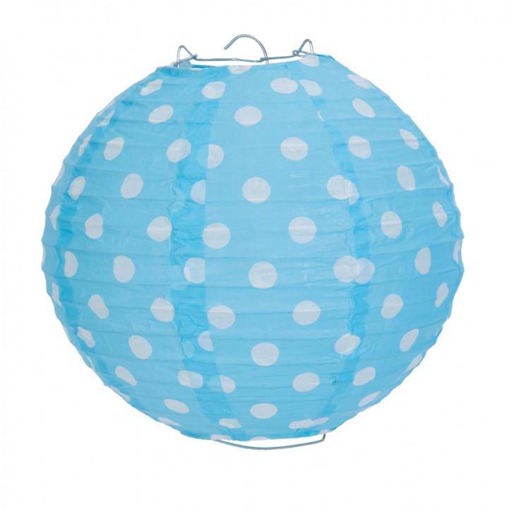 Lampenschirm hellblau mit Punkten 20 cm