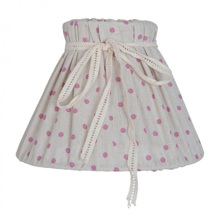 Lampenschirm weiß mit rosa Punkten aus Baumwolle Ø 20 cm/E27