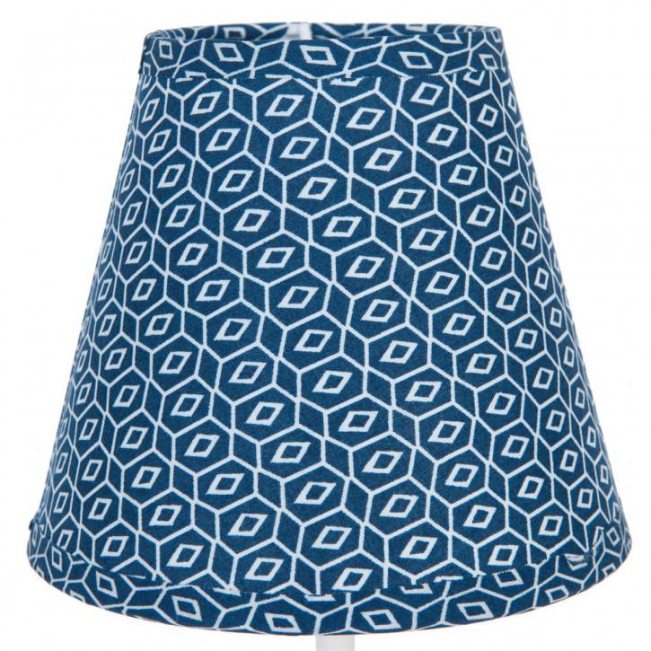 Lampenschirm blau aus Baumwolle Ø 14x12 cm