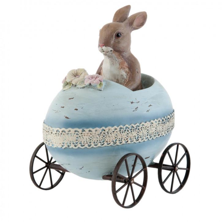 Kaninchen im Ei hellblau auf Rädern ca. 17 x 12 x 19 cm
