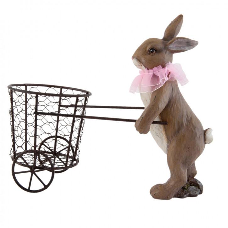 Kaninchen mit Korb auf Rädern ca. 12 x 25 x 26 cm