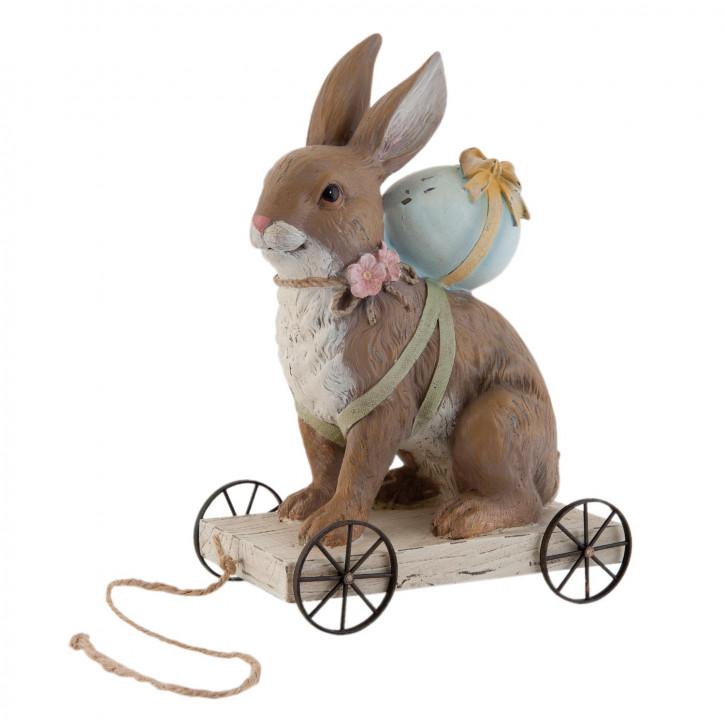 Figur Hase Kaninchen auf Rädern ca. 11 x 19 x 28 cm