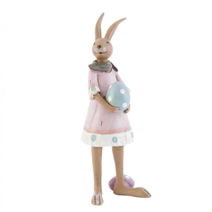 Hase Kleid rosa Osterei ca. 8 x 5 x 18 cm