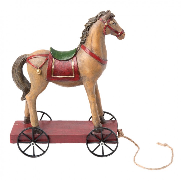 Pferd auf Rädern 15x7x20 cm