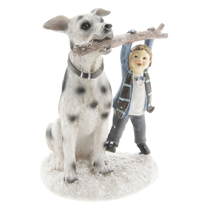 Dekoration Kind mit Hund 14x13x18 cm