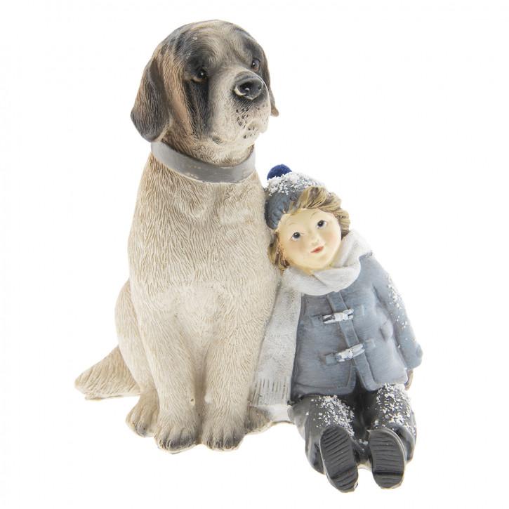 Dekoration Kind mit Hund 13x11x15 cm