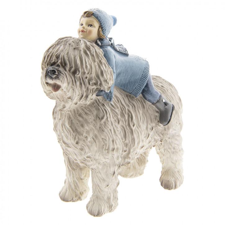 Dekoration Kind mit Hund 16x7x17 cm