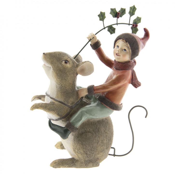 Dekoration Maus mit Elfe 15x8x22 cm