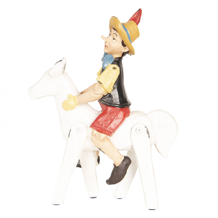Pinocchio auf Pferd 21x8x27 cm