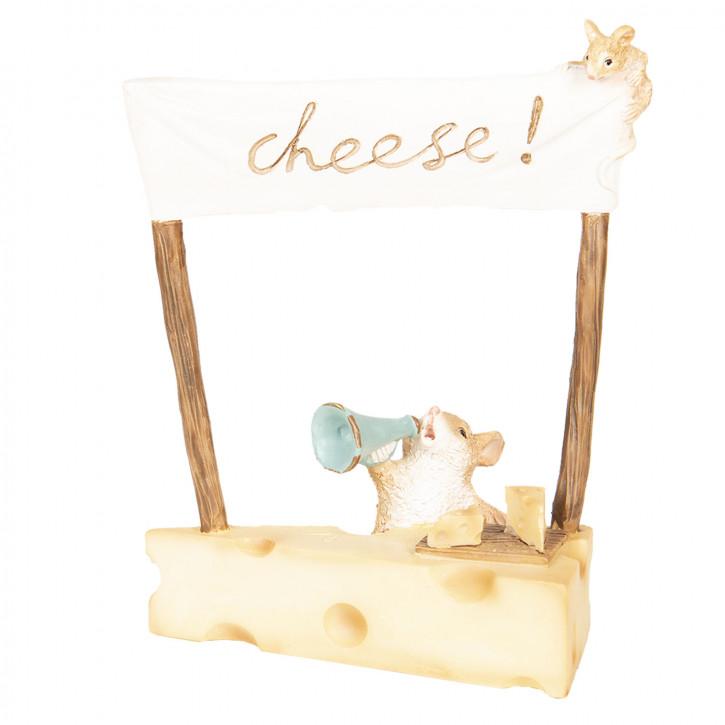 Dekoration Mäuse mit Käse 12x7x14 cm