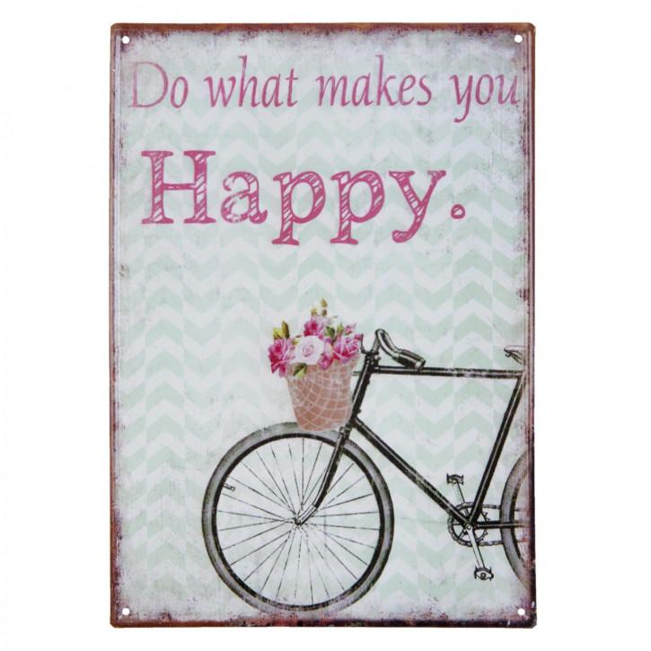 """Textschild """"Happy"""""""