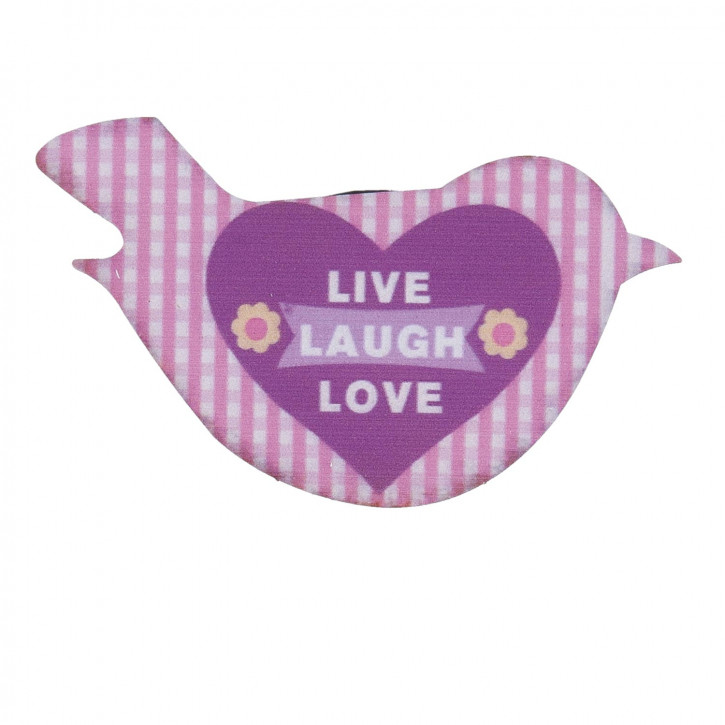 Magnet Vogel LIVE LAUGH LOVE ca. 10 x 6 cm