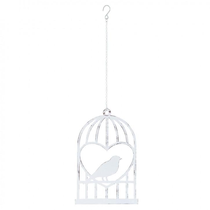 Anhänger Vogelkäfig Vogel weiß ca. 12 x 19 cm