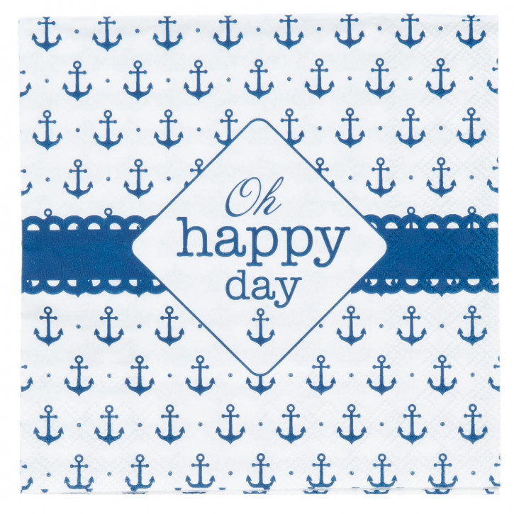 Servietten blau/weiß Oh happy day (20) ca. 33 x 33 cm