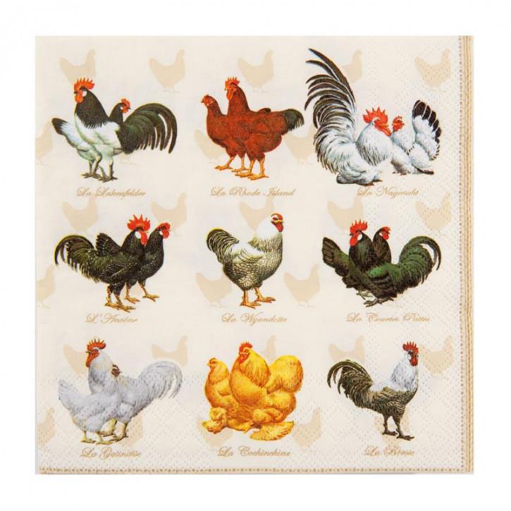 """Servietten """"Hühner"""" 33x33"""