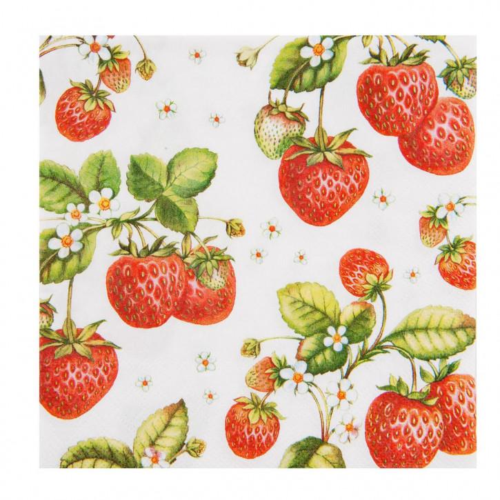 """Servietten """"Erdbeeren"""" 33x33"""