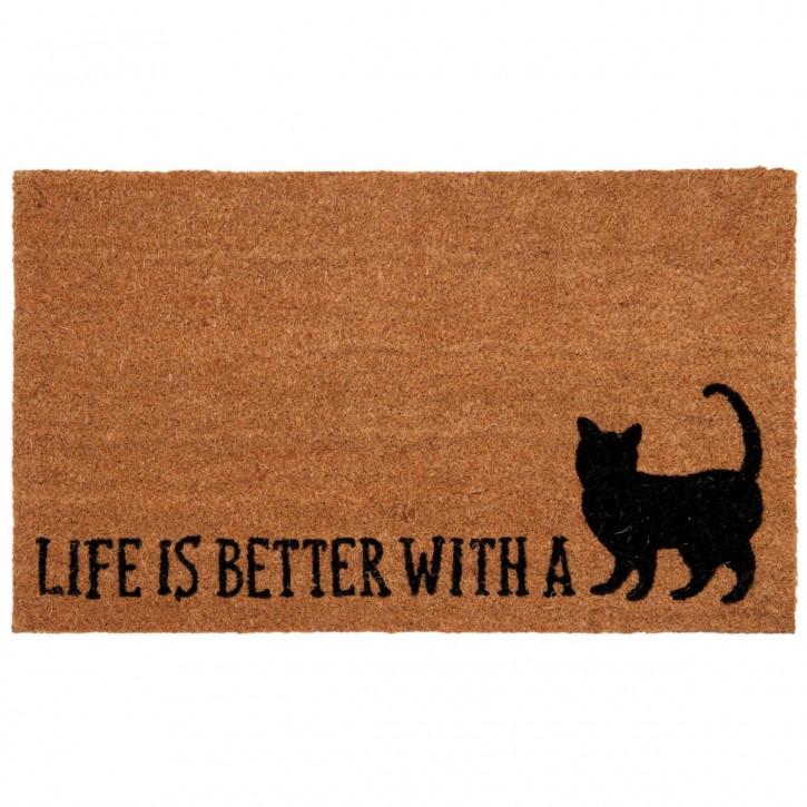 "Türmatte ""Life ist besser with a Cat"" 75x45 cm Cat Lovers"