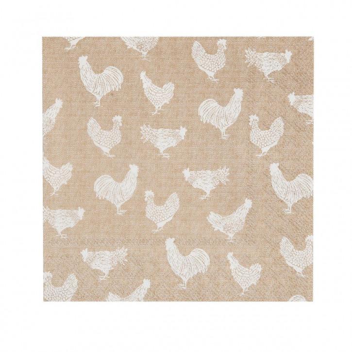 """Servietten Papierservietten """"Huhn"""" weiß 33x33 (20 Stück) Country Side Chicken"""