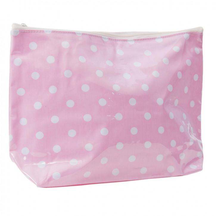 Schminktasche rosa Punkte weiß ca. 29 x 8 x 20 cm