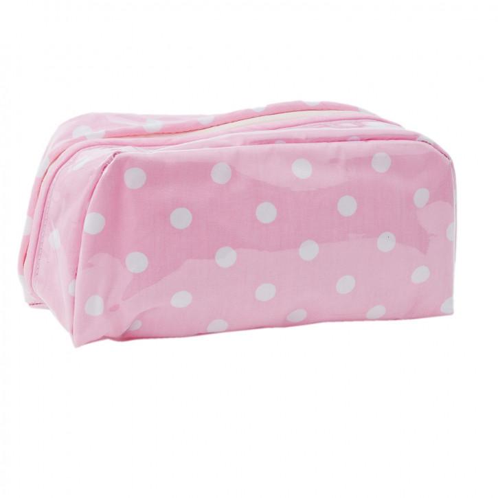Schminktasche rosa Punkte weiß ca. 21 x 7 x 10 cm