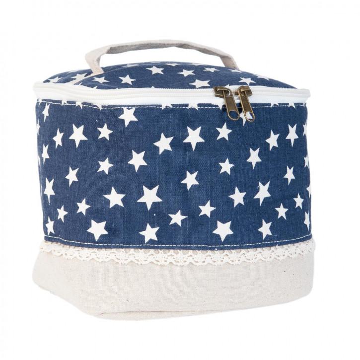 Schminktasche blau Sterne weiß ca. 19 x 16 x 15 cm