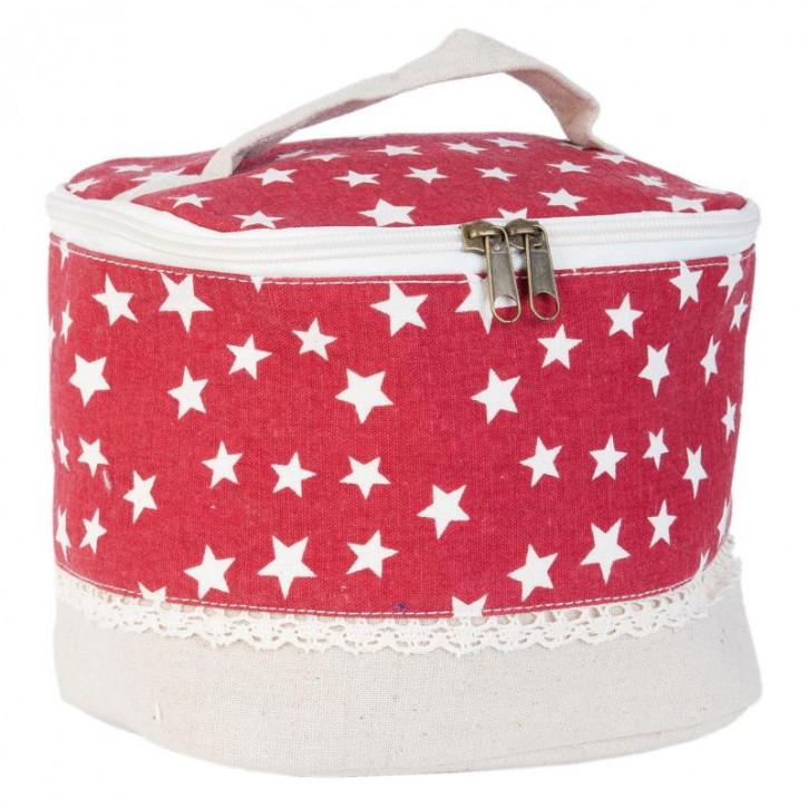 Schminktasche rot Sterne weiß ca. 19 x 16 x 15 cm