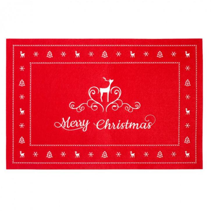 "Tischdecke  rot ""Merry Christmas"" Eckig  45x30 cm"