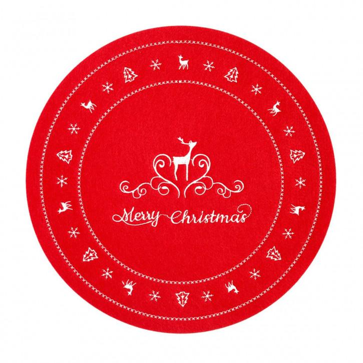 """Tischdecke  rot """"Merry Christmas"""" Rund Ø 30 cm"""