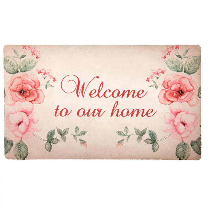 """Türmatte rosa """"Welcome to our home"""" 74x44 cm"""