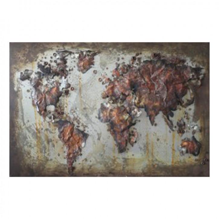 Wand Dekoration Weltkarte 120x80x4 cm