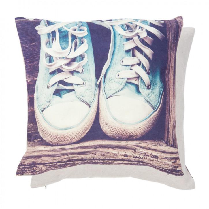 Kissenhülle Schuhe blau ca. 40 x 40 cm