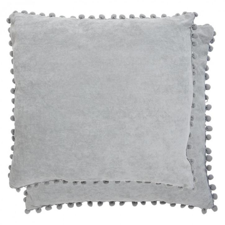 Kissenhülle Grau mit Rüschen 45x45 cm