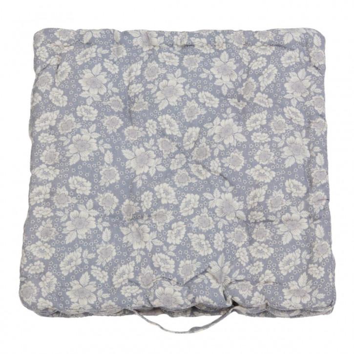 Polsterkissen Sitzkissen grau Blumen weiß ca. 40 x 40 cm