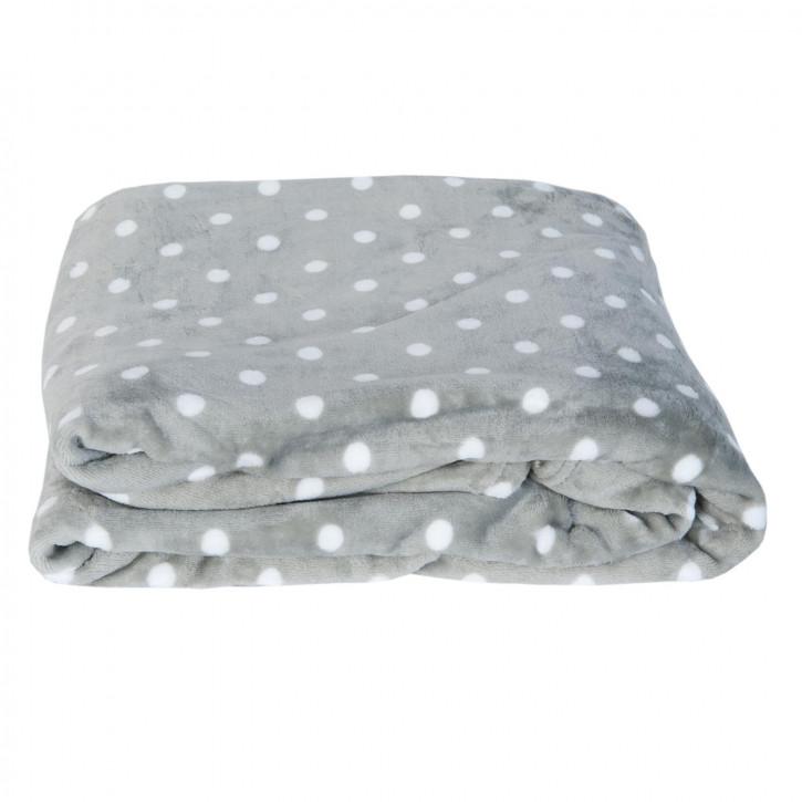 Kuscheldecke grau Punkte weiß ca. 160 x 210 cm
