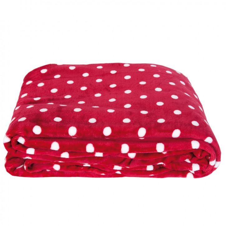 Kuscheldecke rot Punkte weiß ca. 160 x 210 cm
