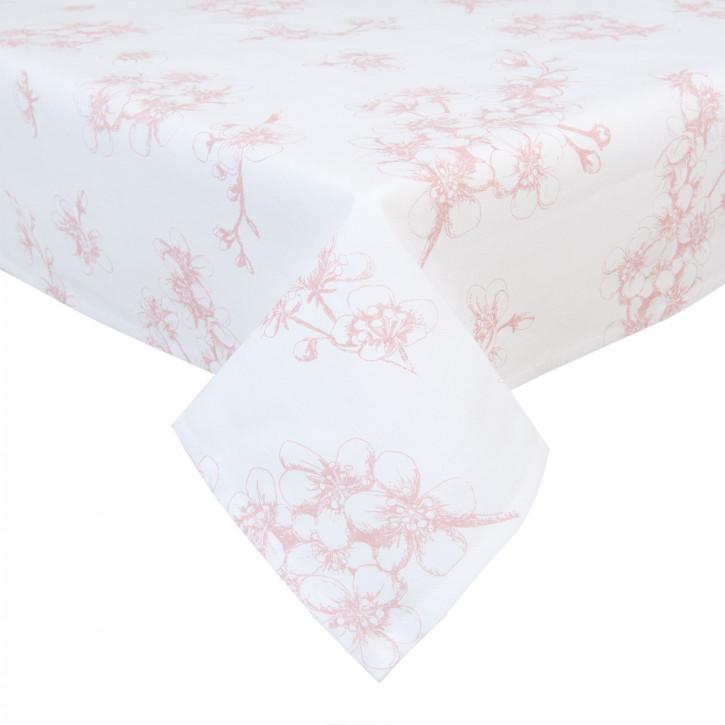 100x100 Tischdecke Kirschblüten in weiß