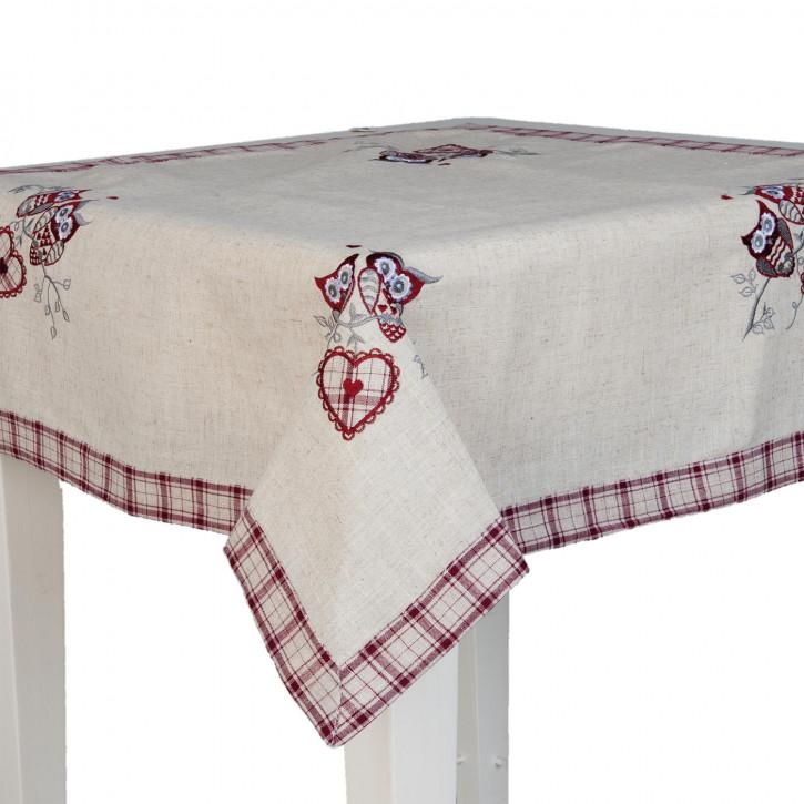 Tischdecke Eulen Herz ca. 85 x 85 cm
