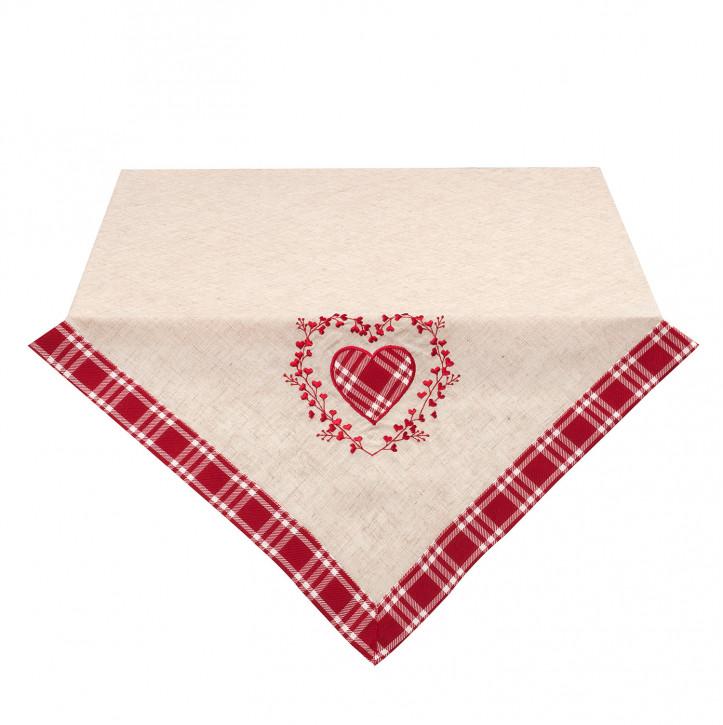 Tischdecke mit roten Herzen 85x85