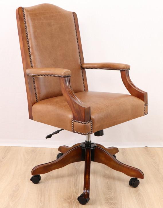 """Diane Chair with Arms"" Chesterfield Drehstuhl Vollledersessel"