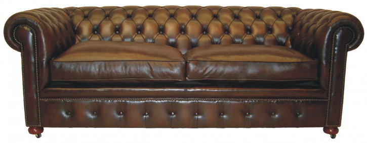 """Standard"" original Chesterfield Leder Sofa 3-Sitzer Anilinleder"