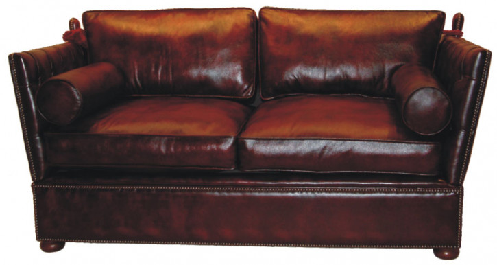 """Knoll"" Chesterfield Sofa englisches Ledersofa Anilinleder 2-Sitzer"